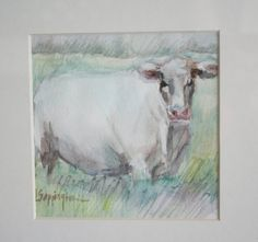 White Cow Watercolor Original Painting Signed Linsey Sappington