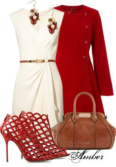 """""""Georgette"""" by stay-at-home-mom ❤ liked on Polyvore  #Red Poppy  & Neutrals"""