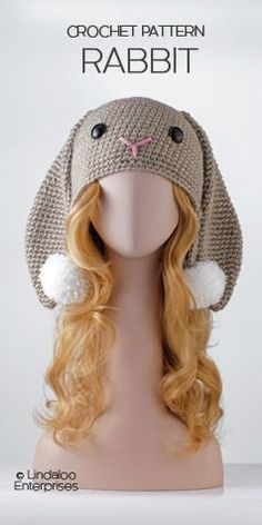 """Crocheted Rabbit hat pattern from the book, """"Amigurumi Animal Hats Growing Up"""" by Linda Wright."""