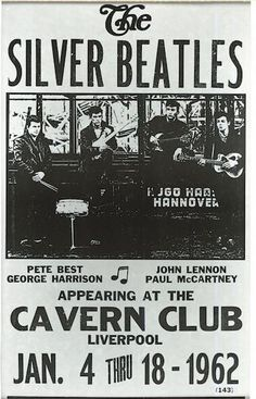 Before they were The Beatles, they were once called The Silver Beatles. Here is an old concert poster advertising The Silver Beatles January 4 through 1962 shows at Liverpool, England's Cavern Club. Pete Best was still the drummer for the band back then. Beatles Poster, Die Beatles, Beatles Art, Beatles Photos, Mundo Musical, Rock Band Posters, Vintage Concert Posters, Retro Posters, Rock Concert