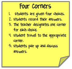 Go Green with Cooperative Learning by using the Four Corners strategy.: Go Green with Cooperative Learning by using the Four Corners strategy. Cooperative Learning Strategies, Teaching Strategies, Teaching Tips, Siop Strategies, Cooperative Games, Efl Teaching, Teaching Theatre, Whole Brain Teaching, Teacher Resources
