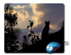 Black Cat silhouette Mousepad Computer Mouse pad Pet silhouette Mouse Mat desk mouse pad Cat lover gifts Computer pad Office supplies cute