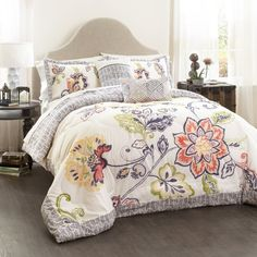 Lush Decor Aster Quilt Flower Pattern Reversible Coral and Navy 3 Piece Lightweight Bedding Set, Full/Queen Lush, Farmhouse Style Bedrooms, Farmhouse Decor, Queen Comforter Sets, Quilt Bedding, Boho Bedding, Floral Comforter, Navy Comforter, Elephant Comforter