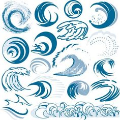 collection,clip art,wave pattern,waving,wave,surfing,surf,tidal wave,sea,sign,illustration and painting,symbol,icon,icon set,vector,water,water,abstract