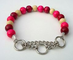 Pink Cherry Beaded Dog Collar Buckle Collars by BeadieBabiez