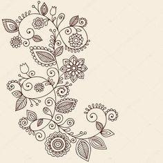 Handgezeichnete abstrakte Henna Mehndi Mandala Blumen und Reben paisley Doodles-Vektor-Illustration-Design-Elemente