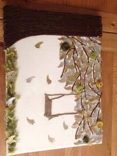 Canvas- tree and swing made from wool