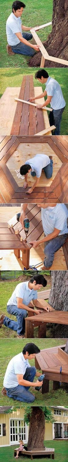 How to build a bench around a tree.. MATERIALS :  Compound miter saw or circular saw Drill/driver with a 3⁄8-inch spade bit and 3⁄32x3-inch bit Speed Square Clamps Adjustable wrench 4-foot level Garden spade 120-grit sandpaper