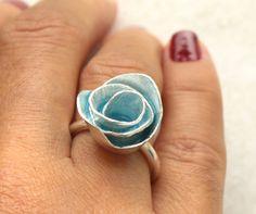Turquoise Enamel Metalwork Unique Rose Ring  Size 5 by meltemsem, $115.00