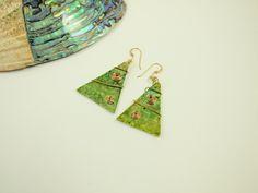 Earrings, Festive Christmas Tree Earrings, Hand Painted, Green & Gold Filled