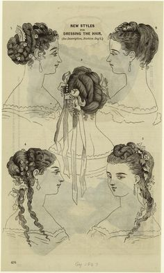 New Styles For Dressing The Hair, 1867. From New York Public Library Digital Collections.
