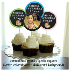 Custom Photo Cupcake Topper Printable Digital by TwoLaughingLambs, $5.00