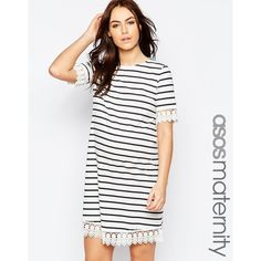 ASOS Maternity Stripe Dress with Lace Trim ($43) ❤ liked on Polyvore featuring maternity and ecru