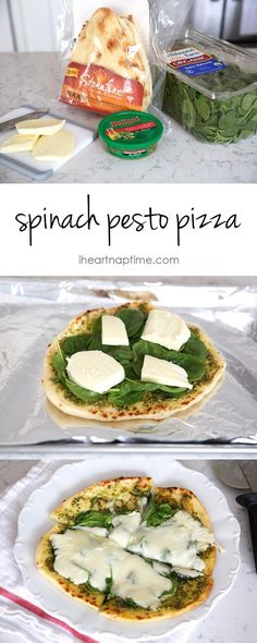 Spinach pesto pizza recipe... Yummmmm! MUST add a meat or more veggies to the top!