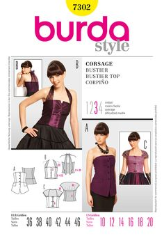 Simplicity Creative Group - Burda Style, Bustier Top: for African fashion Burda Patterns, Modern Sewing Patterns, Style Patterns, Sewing Ideas, Bustier Top, Bustiers, Dirndl Dress, Strapless Tops, Fashion Sewing