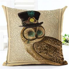 New Arrival Throw Pillow Cushion Home Decor Couch Newspaper With Owl Printed Linen Cuscino Square Cojines Almohadas Modern Decorative Pillows, Decorative Pillow Cases, Pillow Covers, Couch Cushions, Throw Pillows, Gothic, Victorian Steampunk, Vintage Cushions, La Perla Lingerie