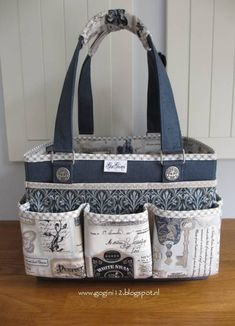 Best 12 Everything Mary Deluxe Store & Tote Organizer Gray & Pink Rose - AmigurumiHouse Tim Holtz Fabric, Sacs Design, Diy Sac, Teacher Bags, Tote Organization, Sewing Baskets, Craft Bags, Bag Patterns To Sew, Patchwork Bags