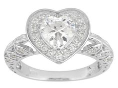 Bella Luce (R) 3.59ctw Heart Shape And Round Rhodium Plated Sterling Silver Heart Ring