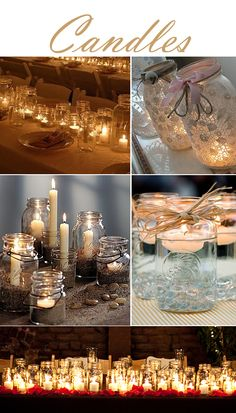 Use mason jars during the reception on the guest tables to light the arrangements. www.glendaloughmanor.com/blog