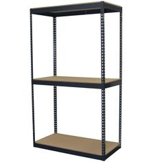 96 in. H x 48 in. W x 24 in. D 3-Shelf Steel Boltless Shelving Unit with Double Rivet Shelves and Laminate Board Decking, Powder Coated Steel Color Gray