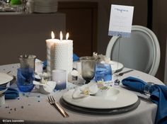 Deco de table printemps ete blanc bleu