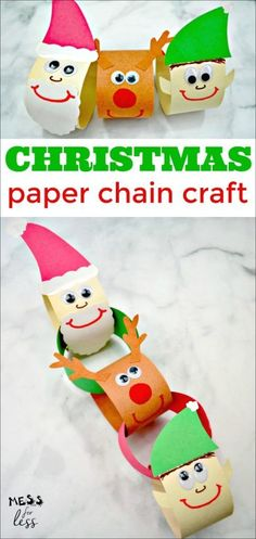 Are you looking for quick and easy Christmas crafts for kids that use supplies you already have at home? Then you're going to love this Christmas Paper Chain Craft. Make a happy Santa, a playful Rudolph the reindeer and mischievous elf out of construction Christmas Decorations For Kids, Christmas Arts And Crafts, Holiday Crafts For Kids, Snow Men Crafts, Christmas Christmas, Handmade Christmas, Christmas Crafts For Kids To Make At School, Japanese Christmas, Simple Christmas