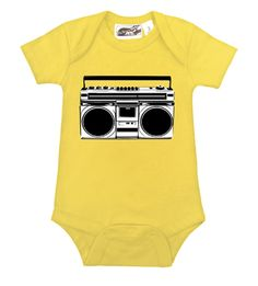 Boombox Yellow, Black & White Gender Neutral Baby Onesie  - cool, punk, rocker & alternative baby onesies, baby shower gifts, and toddler clothes by My Baby Rocks