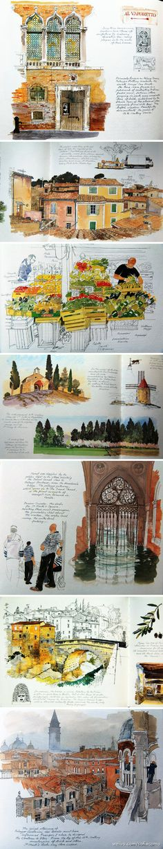 [CasaGiardino] ♛ Beautiful pen and ink watercolor work in this sketch journal featuring travel architecture. Voyage Sketchbook, Travel Sketchbook, Arte Sketchbook, Architecture Sketchbook, Watercolor Journal, Watercolor Sketch, Watercolor Paintings, Watercolors, Sketch Journal