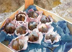 wrapped figs in a crate Watercolour Giclée print by AnneliesClarke, £60.00