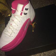 Air Jordan 12 Retro GG White/pink - Metallic silver Jordan Shoes Sneakers