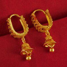 New Bollywood Women Goldplated Earrings Hoop Indian Wedding Fashion jewelry Gold Jhumka Earrings, Jewelry Design Earrings, Gold Earrings Designs, Gold Designs, Ear Jewelry, Gold Bangles Design, Gold Jewellery Design, Handmade Jewellery, Earrings Handmade