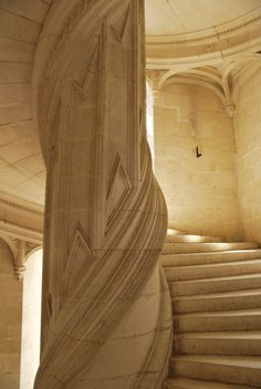 Grand Sweeping Stair Case at the Chateau de la Rochefoucauld (attributed to designs by Leonardo Da Vinci)