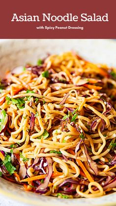 Asian noodle salad with spicy peanut treatment - Takeout Meals at Home . - Asian noodle salad with spicy peanut treatment – Takeout Meals at Home – - Vegetarian Recipes, Cooking Recipes, Healthy Recipes, Healthy Dishes, Asian Slaw Recipes, Healthy Food, Healthy Meals, Meatless Pasta Recipes, Peanut Recipes