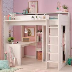 Parisot Higher Kids High Sleeper Bed with Desk & Wardrobe - This is what I want. Parisot Higher Kids High Sleeper Bed with Desk & Wardrobe – This is what I want! But what I hav Room Design Bedroom, Girl Bedroom Designs, Design Room, Small Room Bedroom, Bed Designs, Childs Bedroom, Ikea Teen Bedroom, Girls Bedroom With Loft Bed, Dorm Room