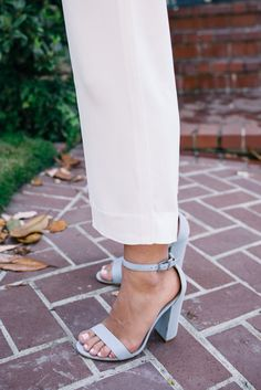Gal Meets Glam White Summer Trousers - Urban Outfitters top, and Schutz heels