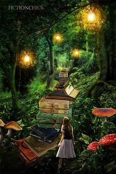 Book art - The Book Lover's Journey by *FictionChick Fantasy Magic, Fantasy World, Fantasy Art, I Love Books, Books To Read, My Books, Reading Art, World Of Books, Roald Dahl