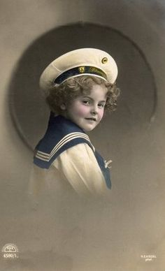 British postcard of a boy in sailor suit by H.E. Kiesel, 1910's