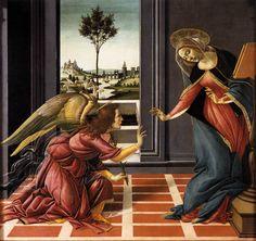 The Annunciation, Sandro Botticelli Detail . The Annunciation, also known as the Cestello Annunciation, is a tempera painting by the Italian Renaissance master Sandro Botticelli, circa. Art Prints, Annunciation, Painting, Botticelli, Painting Reproductions, Italian Painters, Botticelli Art, Canvas Art, Art History
