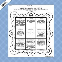 Free!  Choice activity for Independent reading