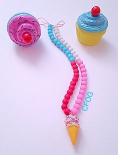 Ice Cream Sprinkles and Candy Gumball Necklace by AClosetFullOfGoodies on Etsy