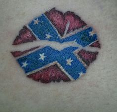 Rebel flag kiss tattoo