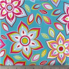 1 Yard Turquoise Floral Cotton Fabric for Quilting, Sewing and Crafts via Etsy