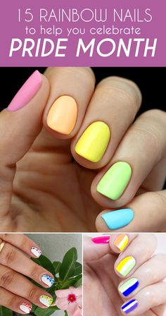 Check out these great rainbow nails for fun ideas to help celebrate pride month.