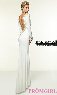 V-Neck Dress with Long Sleeves by Mori Lee at PromGirl.com