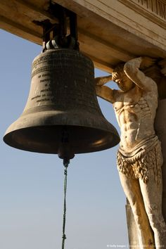 Bell and carving, cathedral, Leon, Nicaragua.