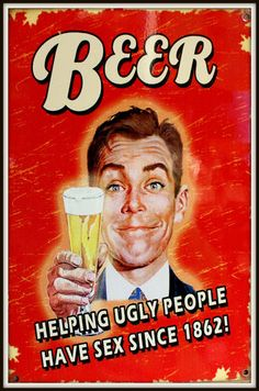 """Retro humorous beer wall sign made of enamelled tin, 20 x 30 cm or 12"""" x 8"""" from the UK year unknown."""