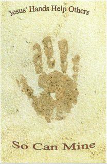 """October - Handprint craft: """"Jesus' hands help others. So can mine."""" """"Helping Others"""" - print words ahead of time - cut out, glue to construction paper and paint handprints"""