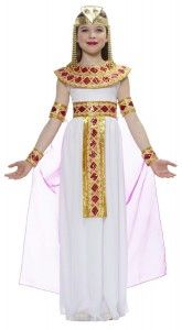 Make your kids feel like they are the Queen of Egypt Cleopatra with these beautiful Cleopatra costumes for kids. There are many gorgeous styles to choose from. The first one is Cleopatra costume which includes dress, cape, wrist cuffs and headpiece. The second one is Cleopatra costume which includes dress with drape, belt, collar and