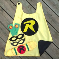 Childrens Super Hero ROBIN Cape PLUS Accessory Set perfect for a kids HALLOWEEN costume. $55.00, via Etsy.