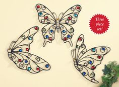 Glass Beaded Butterfly Wall Art - Set of 3